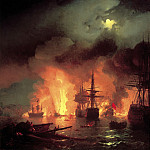 Ivan Konstantinovich Aivazovsky - Battle of the night from 25 to 26 June 1770 1848 220h188