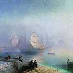 Bay of Naples in the misty morning in 1874 148h214, Ivan Konstantinovich Aivazovsky