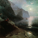 A. Pushkin in the Crimea at Gurzuf rocks 198h156 1880, Ivan Konstantinovich Aivazovsky
