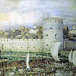 Apollinaris M. Vasnetsov - Moscow Kremlin with Dmitry Donskoi (probable view of the Kremlin of Dmitry Donskoy Tokhtamish before the invasion in 1382). 1922