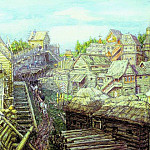Construction of wooden walls of the Kremlin. XII century. 1903, Apollinaris M. Vasnetsov
