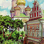 Simonov Monastery. Clouds and golden domes. 1927, Apollinaris M. Vasnetsov