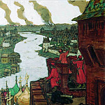 Apollinaris M. Vasnetsov - Tatars go. End of XIV century (they come! Tatar raids on Moscow). 1909