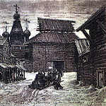 the walls of the wooden town. 1907, Apollinaris M. Vasnetsov