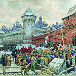 Apollinaris M. Vasnetsov - old Moscow. Check with fisticuffs. 1900 e