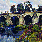 Palace of XVIII century bridge across the river Yauza. Lefortovo. 1920, Apollinaris M. Vasnetsov