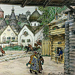 Apollinaris M. Vasnetsov - Square in front of the church. Street in the city. 1911