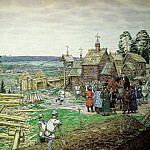 Founding Kremlin. Construction of new walls of the Kremlin Yuri Dolgoruky in 1156. 1917, Apollinaris M. Vasnetsov