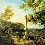 Capriccio- River Landscape with a Column, a Ruined, Canaletto (Giovanni Antonio Canal)