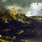 Magnasco, Alessandro. Landscape with a road in the mountains, part 08 Hermitage