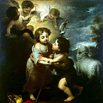 Murillo, Bartolome Esteban. Christ and John the Baptist as a child, part 08 Hermitage