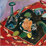 Matisse, Henry. Dishes and Fruit on a red-black carpet, Henri Matisse