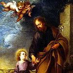 Murillo, Bartolome Esteban. St. Joseph, leading by the hand Baby Jesus, part 08 Hermitage