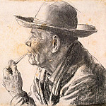 Menzel, Adolf von. Sketch of an elderly man in a hat and a pipe, part 08 Hermitage