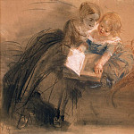 Menzel, Adolf von. A young woman with a child, Adolph von Menzel