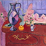 Matisse, Henry. Pink Statuette and a pitcher on the red chest, Henri Matisse