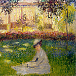 Monet, Claude. Woman sitting in the garden, part 08 Hermitage