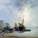 Boats near the shores of Normandy, Richard Parkes Bonington