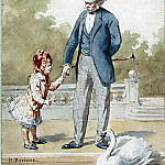 part 02 Hermitage - Borion, B. - Grandfather and granddaughter looking at a floating swan