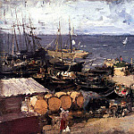 Konstantin Alekseevich (1861-1939) Korovin - port of Archangel on the Dvina. 1894
