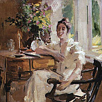 lady in the chair. 1917, Konstantin Alekseevich (1861-1939) Korovin