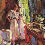 In the open window. 1916, Konstantin Alekseevich (1861-1939) Korovin