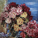 Konstantin Alekseevich (1861-1939) Korovin - Roses on the background of the sea. 1930