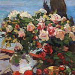 Konstantin Alekseevich (1861-1939) Korovin - Roses and fruit. 1917