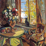 Black cat on a windowsill. 1902, Konstantin Alekseevich (1861-1939) Korovin