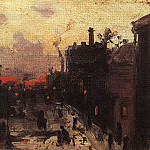 Sunset on the outskirts. 1900 e, Konstantin Alekseevich (1861-1939) Korovin