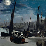 Gustave Dore - Moonlight over Bologne Harbor