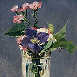 Carnations and clematis in a crystal vase, Édouard Manet