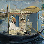 Édouard Manet - The Boat (Claude Monet, with Madame Monet, Working on his Boat in Argenteuil)