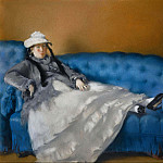 Madame Manet on Blue Sofa, Édouard Manet