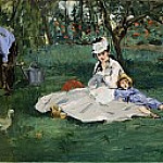 The Monet Family in Their Garden at Argenteuil, Édouard Manet