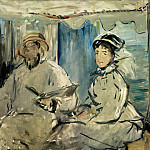 Édouard Manet - Monet and his wife Camille on the studio boat