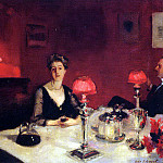 A Dinner Table at Night , John Singer Sargent