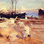 Oxen on the Beach at Baia, John Singer Sargent