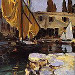 John Singer Sargent - Boat with The Golden Sail, San Vigilio