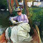 John Singer Sargent - By the River (also known as Femme en Barque)