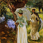 Two Girls with Parasols at Fladbury, John Singer Sargent