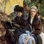 Miss Wedewood and Miss Sargent Sketching, John Singer Sargent