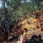 John Singer Sargent - Ilex Wood at Majorca with Blue Pigs