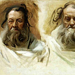 Study for Two Heads for Boston Mural. The Prophets, John Singer Sargent