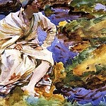 John Singer Sargent - A Man Seated by a Stream, Val d'Aosta, Pertud