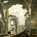 Klerisso, Charles-Louis – Ruins of the central hall of the Great term at the villa of Emperor Hadrian in Tivoli, part 06 Hermitage