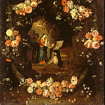 Kessel, Jan van the Elder – Madonna and Child with St. Idelfonso a garland of flowers, part 06 Hermitage