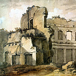 Klerisso, Charles-Louis – Temple of Apollo on the terrace of the Academy at the Villa of Emperor Hadrian in Tivoli, part 06 Hermitage