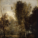 Corot, Jean-Baptiste Camille – Pond in the thicket, part 06 Hermitage