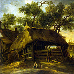 Castillo, Antonio del – Landscape with huts, part 06 Hermitage
